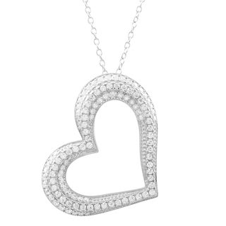 Luxiro Sterling Silver Dazzling Cubic Zirconia Open Heart Necklace