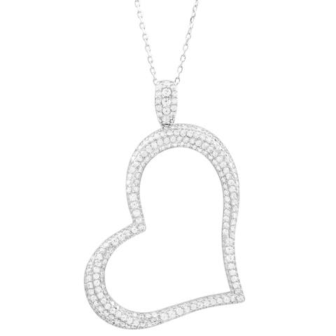Luxiro Sterling Silver White Cubic Zirconia Open Heart Pendant Necklace