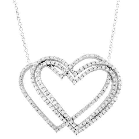Luxiro Sterling Silver Cubic Zirconia Open Hearts Necklace