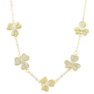 Luxiro Sterling Silver Gold Finish Cubic Zirconia Women's Flower Necklace