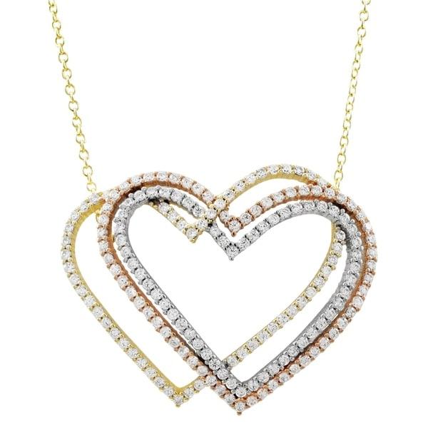 f80cdf96d4e1f6 Luxiro Sterling Silver Tri-color Finish Cubic Zirconia Open Hearts Necklace