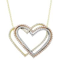 Luxiro Sterling Silver Tri-color Finish Cubic Zirconia Open Hearts Necklace