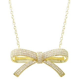 Luxiro Gold Finish White Cubic Zirconia Bow Necklace