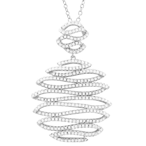 Luxiro Sterling Silver White Cubic Zirconia Squiggle Design Pendant Necklace. Opens flyout.