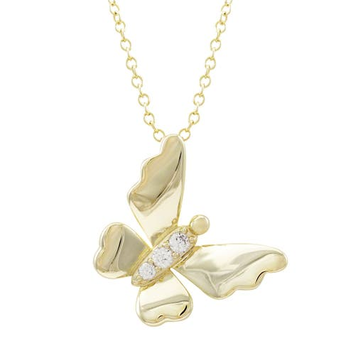 Luxiro Gold Finish White Cubic Zirconia Butterfly Pendant Necklace