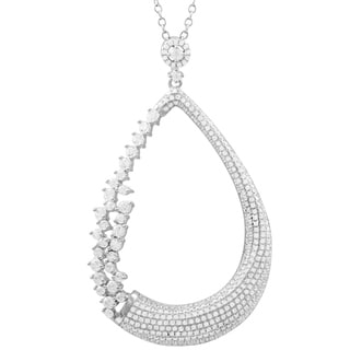 Luxiro Sterling Silver White Cubic Zirconia Open Teardrop Bridal Pendant Necklace