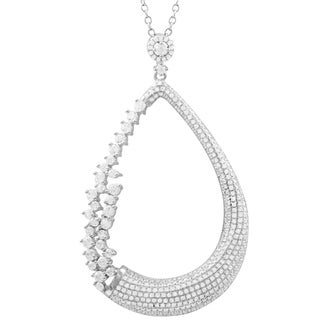 Luxiro Sterling Silver White Cubic Zirconia Open Teardrop Bridal Pendant Necklace