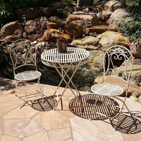 Modern Home Versailles Antiqued Iron 3pc Folding Bistro Set