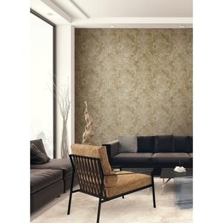 Hampstead Damask Wallpaper, In Metallic Gold, Taupe, & Rust