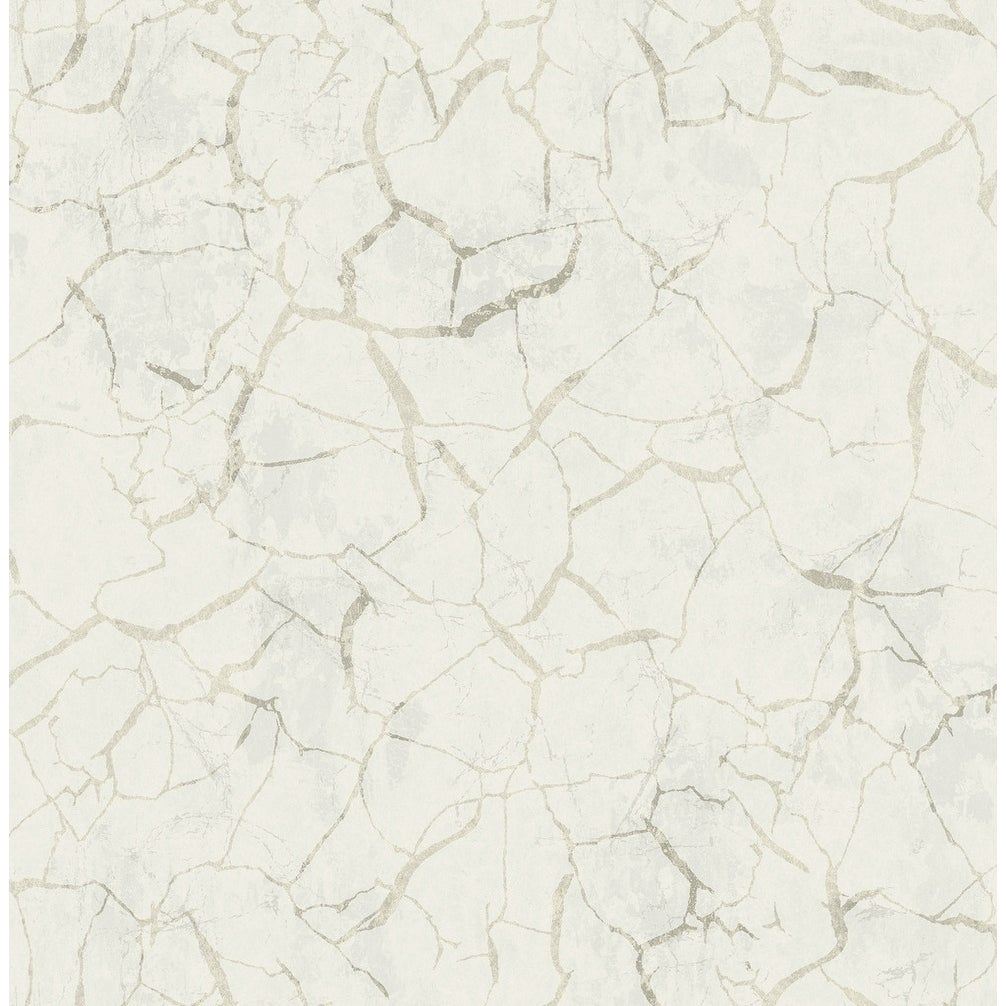 Shop Lenox Hill Crackle Marble Wallpaper In White Metallic Gold