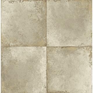 Hampstead Tiles Blocks/Faux Wallpaper, In Taupe & Metallic Gold