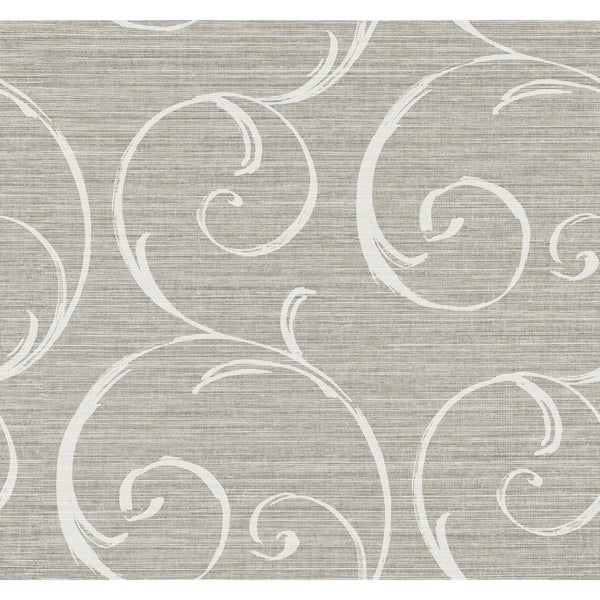 Shop Notting Hill Scroll Swirls Texture Wallpaper In Gray