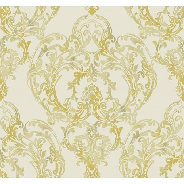 Shop Roxen Damask Wallpaper In Off White Gold Overstock