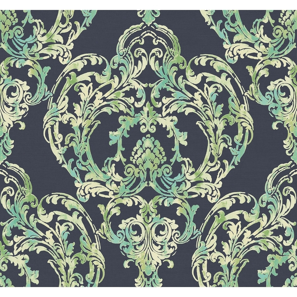 Shop Roxen Damask Wallpaper In Navy Off White Mint On Sale