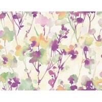Faravel Twigs/Branches/Watercolor Wallpaper, In Purple, Mint, & Orange