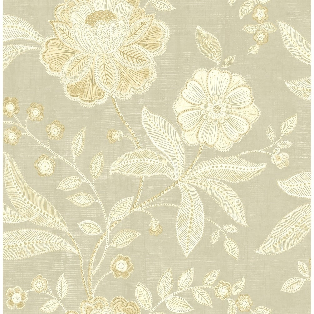 Shop Shimmer Floral Jacobean Wallpaper In Trout Metallic Gold