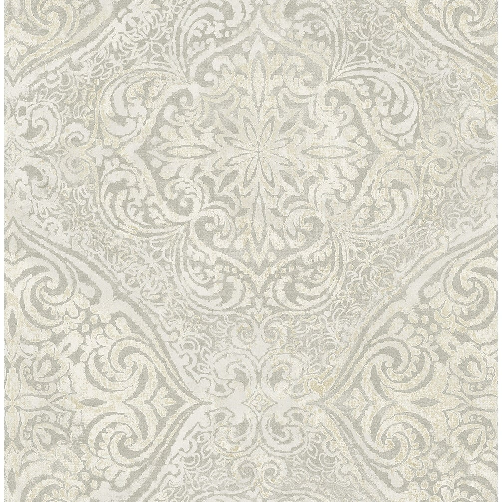 Shop Palladium Damask Wallpaper In Metallic Gold Off White On