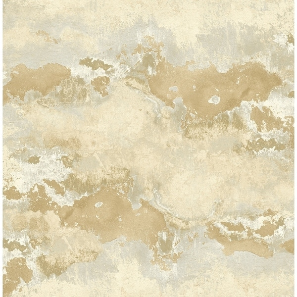 Shop Sicily Faux Marble Wallpaper In Gold Light Gray On Sale