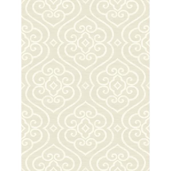 Shop Arden Damask Wallpaper In Light Gray White Overstock