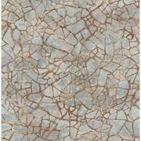 Starkweather Stone Wallpaper, In Chocolate & Metallic Silver