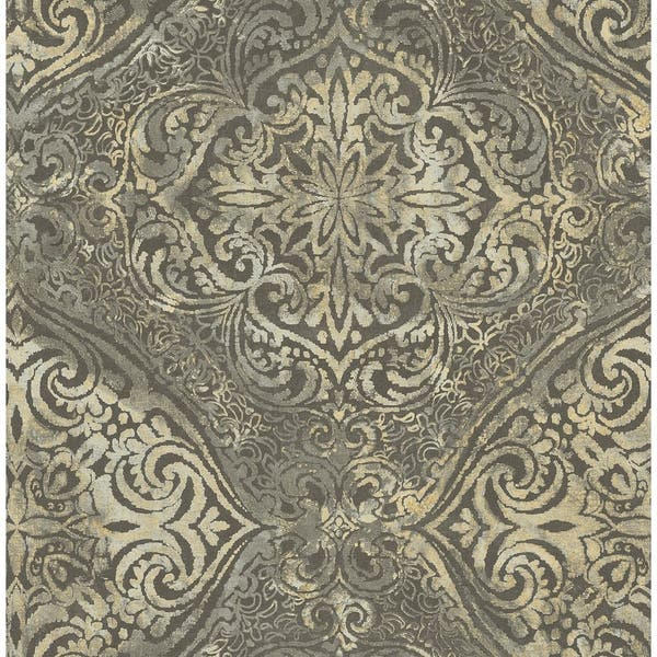Shop Palladium Damask Wallpaper In Metallic Gold Charcoal On