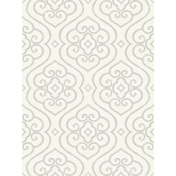 Shop Arden Damask Wallpaper In White Metallic Silver On Sale