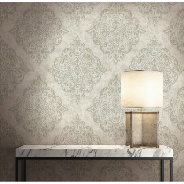 Atelier Damask Harlequin Wallpaper In Gray Metallic Gold Taupe