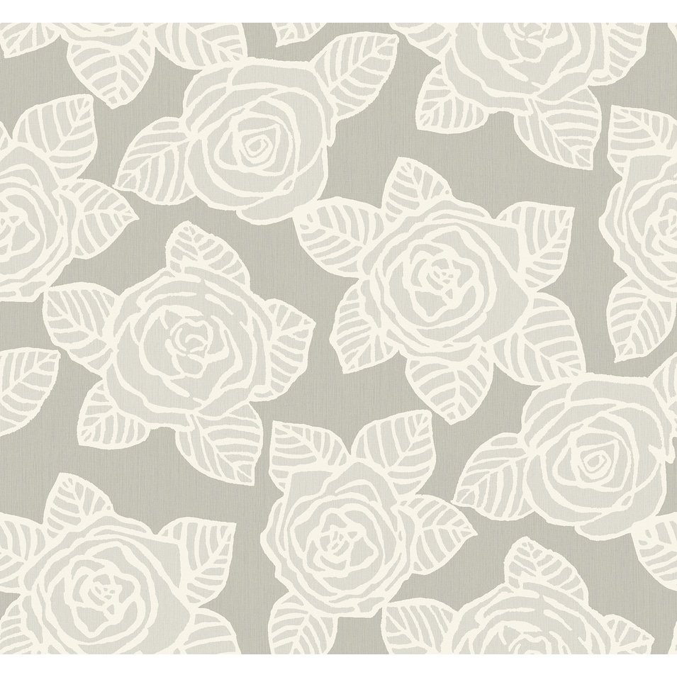 Shop Bellvale Floral Roses Wallpaper In Gray Metallic Silver