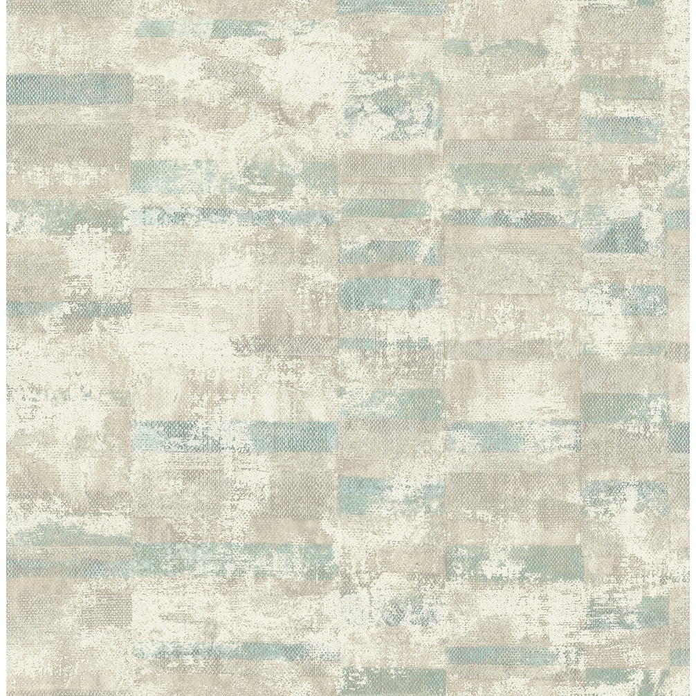 Gutenberg Bricks Stucco Texture Wallpaper In Light Teal Gray Off White Overstock 26396973