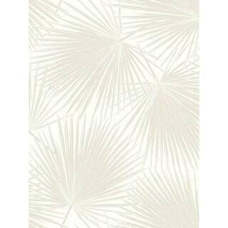 Aruba Leaves/Leaf/Tropical Wallpaper, In Linen & White