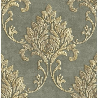 Link to Telluride Damask Wallpaper, in Gray & Metallic Gold Similar Items in Wall Coverings