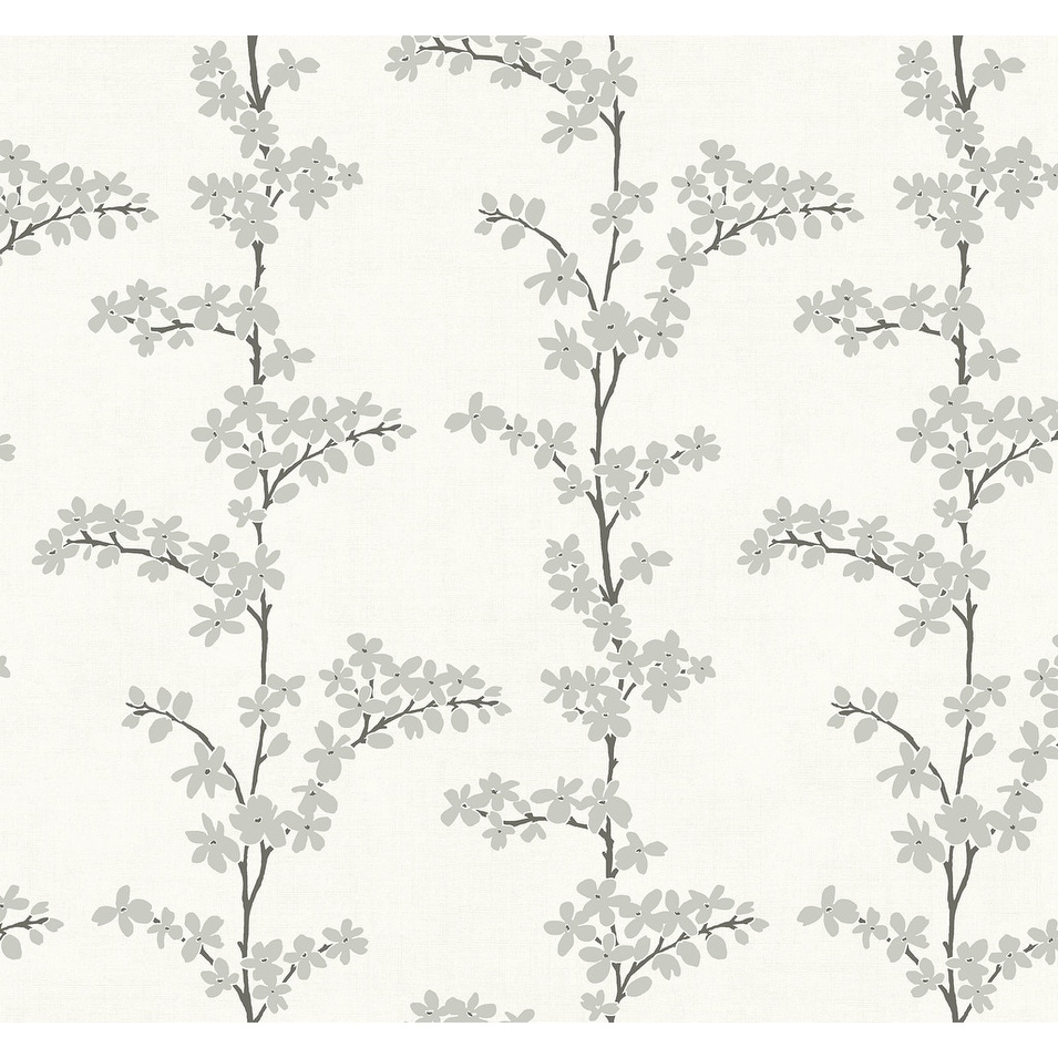 Shop Appleton Floral Twigs Branches Wallpaper In White Metallic