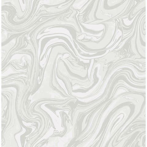 Mindy Marble Wallpaper, In Gray & White - 20.5 in x 32 ft = 56 sq ft