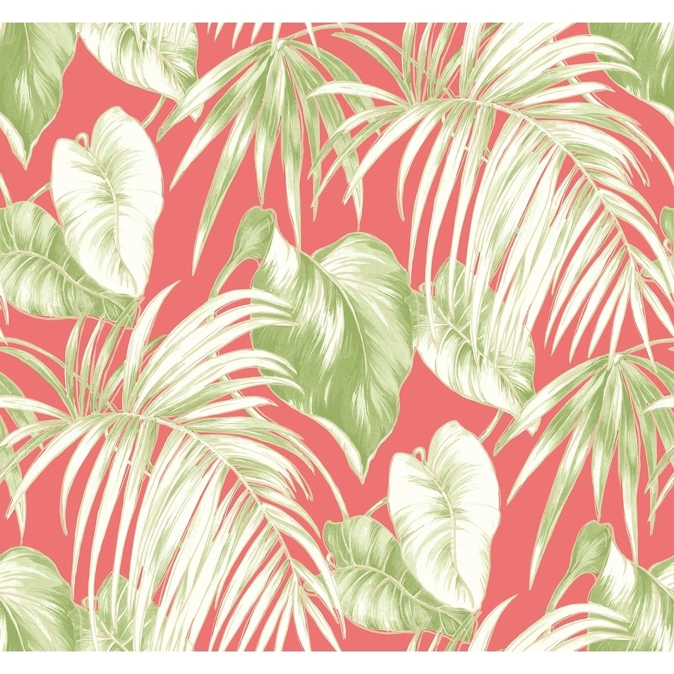 Shop Dominica Leaves Leaf Tropical Wallpaper In Salmon Green