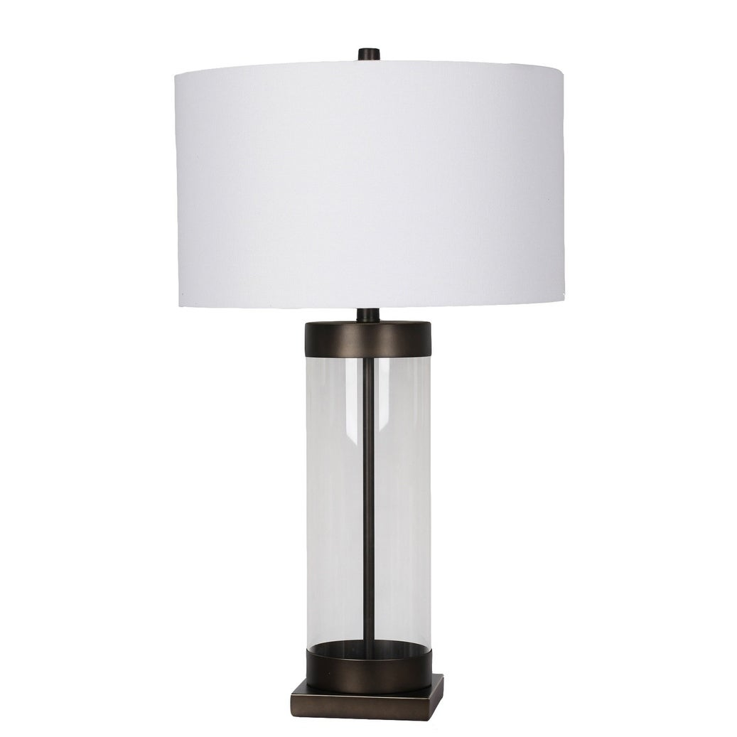 Picture of: Glass Cylinder Frame Table Lamp With Black Metal Hardware Overstock 26397200