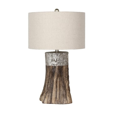 Faux Wood Polyresin Table Lamp