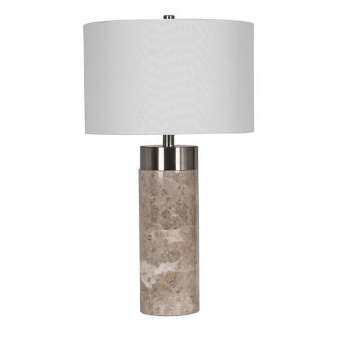 Grey Marble Base With Chrome Metal Frame Table Lamp