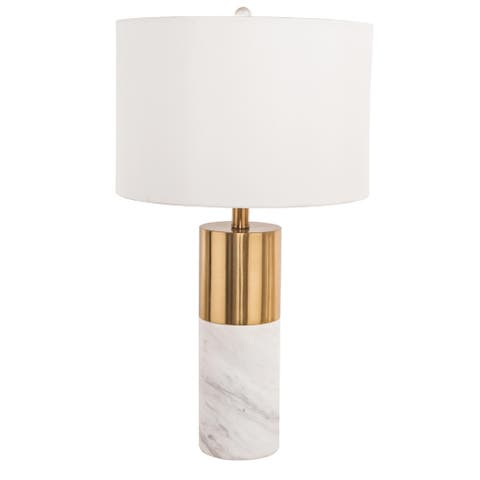 White Marble Table Lamp with Gold Metal Frame