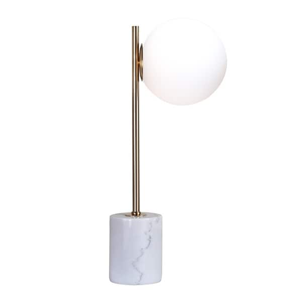 White Marble Base With Gold Metal Frame Table Lamp. Opens flyout.