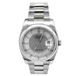 Pre-owned 36mm Rolex Stainless Steel Oyster Perpetual Datejust Watch with Silver Dial - N/A - N/A