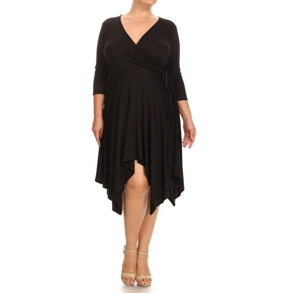 Women's Solid Color Plus Size Soft Knit Wrap Bodice Loose Fit Dress