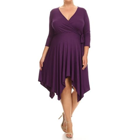 Women's Solid Color Plus Size Soft Knit Wrap Bodice Loose Fit Dress