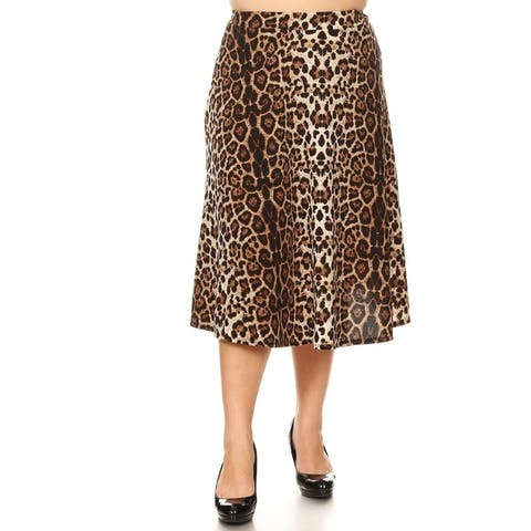 Women's Plus Size Pattern Print Loose Casual Mid-Length Skirt