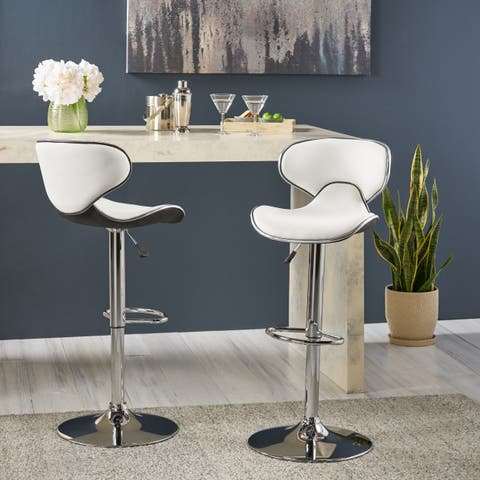 """Carlota Adjustable Height 24""""-32"""" Faux Leather Swivel Barstool (Set of 2) by Christopher Knight Home"""