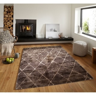 Silky Smooth Shaggy Trellis Shag Area Rug