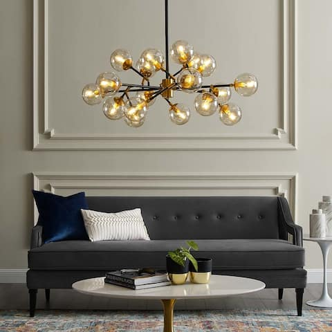 Sparkle Amber Glass and Antique Brass 18 Light Pendant Chandelier