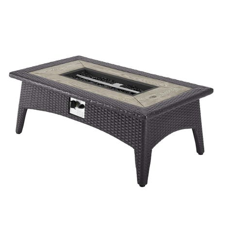 Modway Splendor Wicker Rattan Rectangular Propane Gas Fire Pit Table
