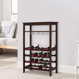 Kinbor 24 Bottle Wine Rack Free Standing Wine Storage Shelf Table Top w/ Glass Holder