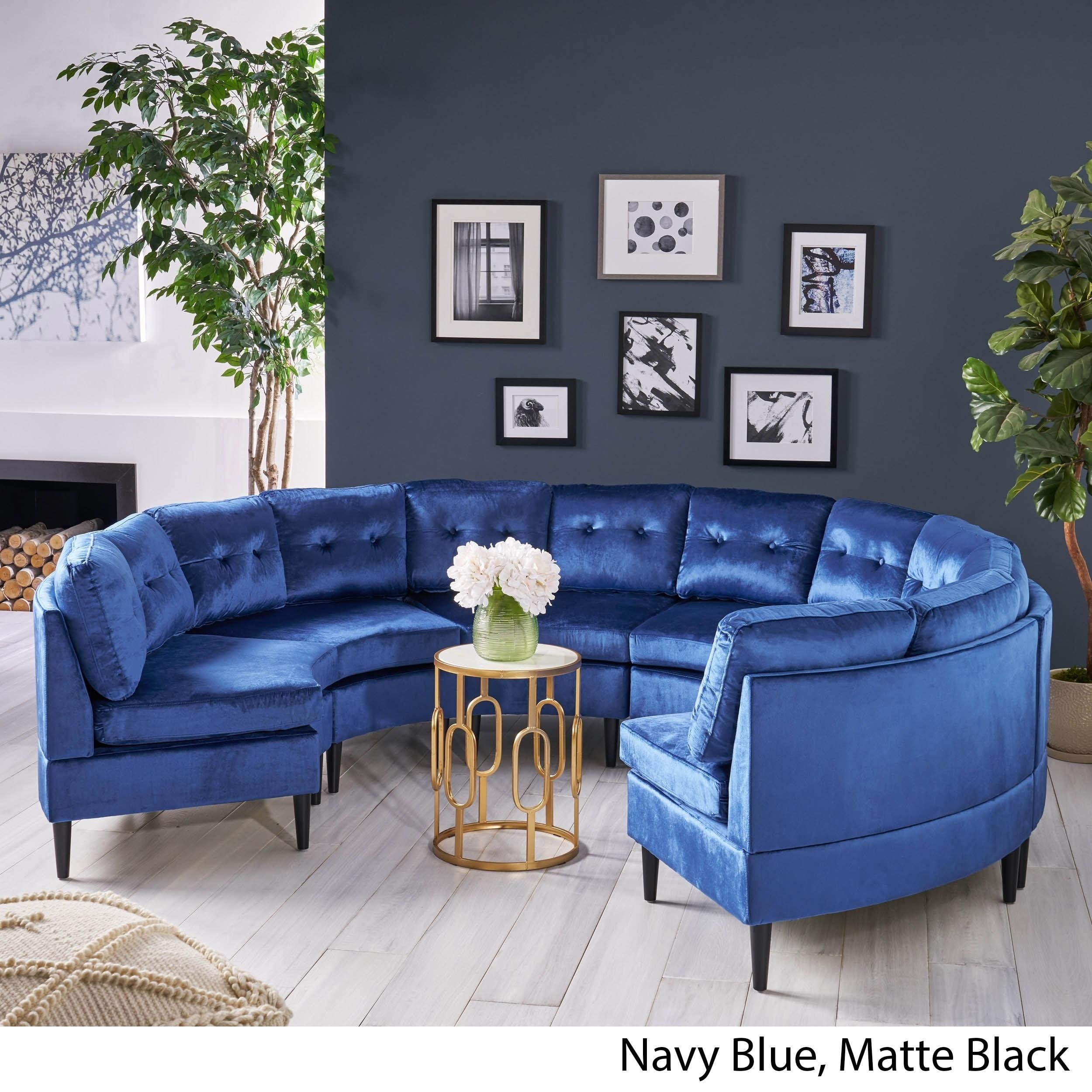 Jazmine Glam 6 Seat Modular Velvet Sectional Sofa By Christopher Knight Home
