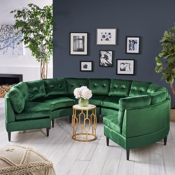 Jazmine Glam 6-Seat Modular Velvet Sectional Sofa by Christopher Knight Home